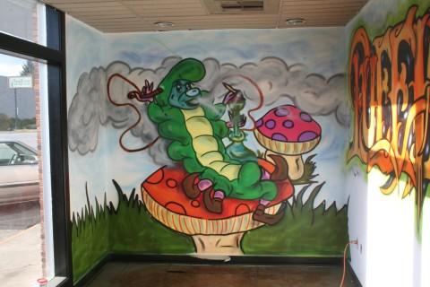 spraypaint,art,urbanart,urban,glass,puffin,tuff,caterpillar,graffiti